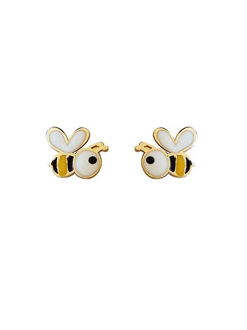 Boucles d'oreille enfant abeilles en or jaune