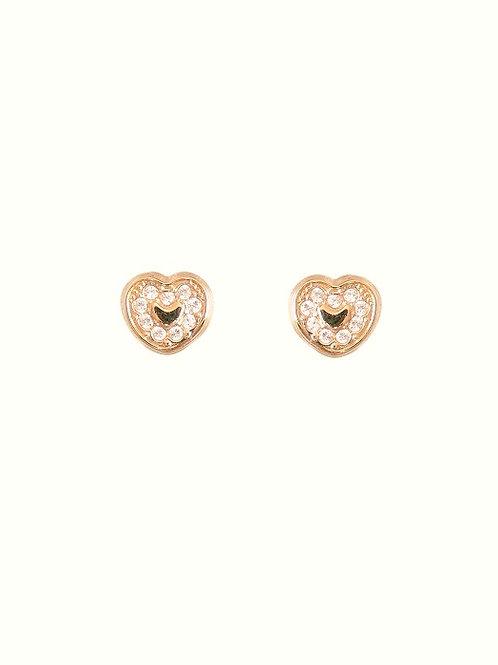 Boucles d'oreille coeurs zircons en or jaune