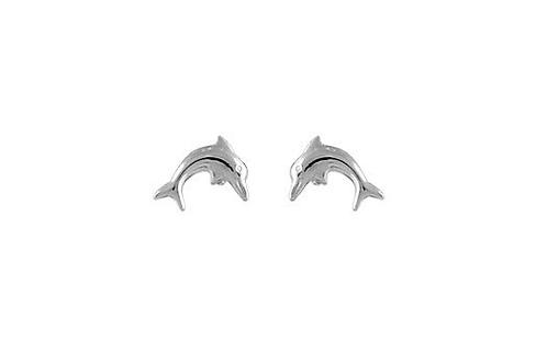 Boucles d'oreille enfant dauphins en or blanc