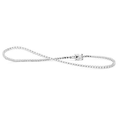 Bracelet rivière or blanc et diamants 0,25ct