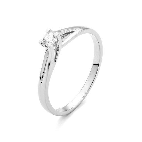 Solitaire en or blanc et diamant Facet