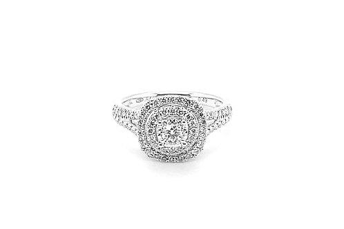 Solitaire accompagné en or blanc et diamants J&A