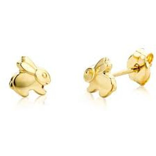 Boucles d'oreille enfant lapins en or jaune