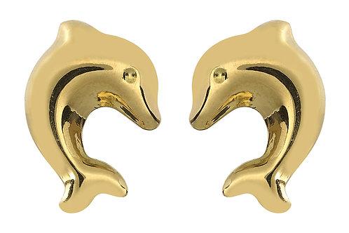 Boucles d'oreille enfant dauphins en or jaune