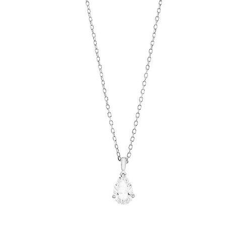 Collier solitaire poire or blanc et diamant FACET