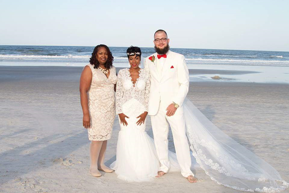 Crystal bride and Groom on Beach 2015