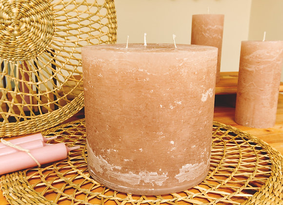 3 Wick Rustic Pillar Candle - rose