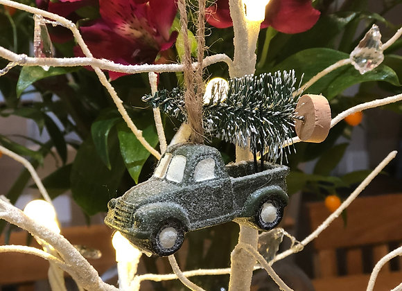 Hanging Car with Christmas Tree