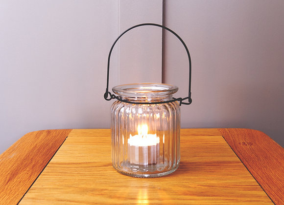 Ribbed Glass Lantern with Antique Zinc Handle
