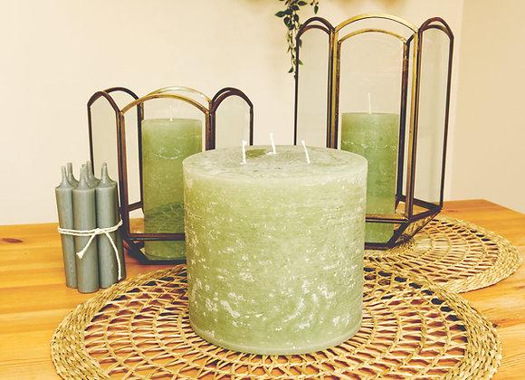 3 Wick Rustic Pillar Candle - verte