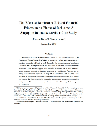 Effects of Remittance Related Financial Education on Financial Inclusion, 2013