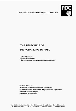 The Relevance of Microbanking to APEC, 2002