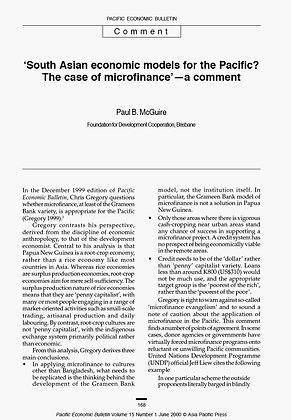 South Asian economic models for the Pacific - the case for microfinance, 2000