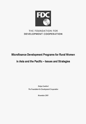 Microfinance Development Programs for Rural Women in Asia and the Pacific, 2001