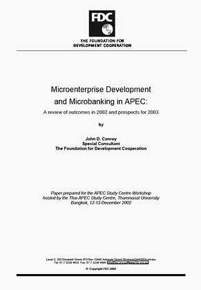 Microenterprise Development and Microbanking in APEC, 2002