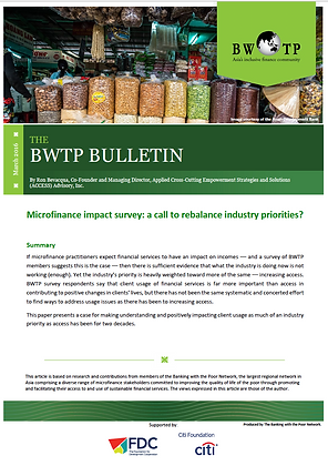 Microfinance impact survey: a call to rebalance industry priorities, 2016