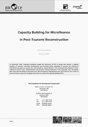 Capacity Building for Microfinance in Post-Tsunami Reconstruction, 2007