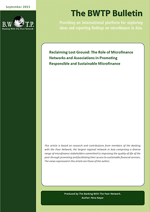 Microfinance Networks on Responsible and Sustainable Microfinance, 2013