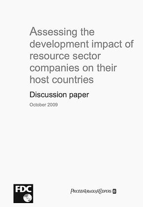 Development impact of resource sector companies on their host countries, 2009