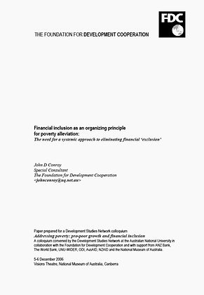 Financial inclusion as an organizing principle for poverty alleviation, 2006