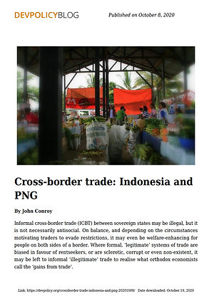 Cross border trade: Indonesia and PNG, 2020