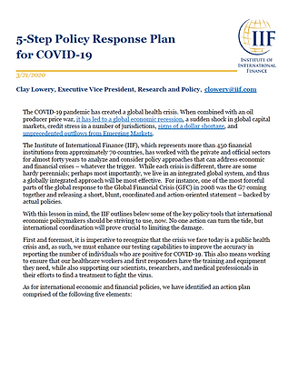 5-Step Policy Response Plan for COVID-19