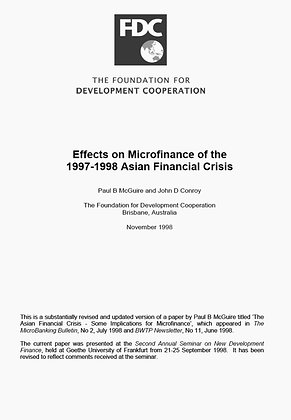 Effects on Microfinance of the Asian Financial Crisis, 1998
