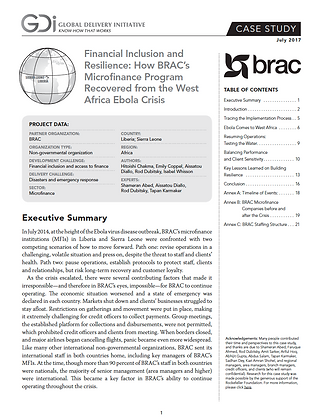 How BRAC's Microfinance Program Recovered from the West Africa Ebola Crisis