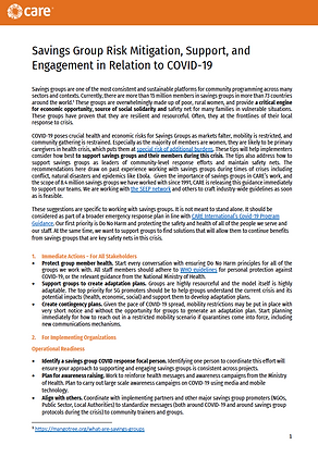 Savings Group Risk Mitigation, Support, and Engagement in Relation to COVID-19