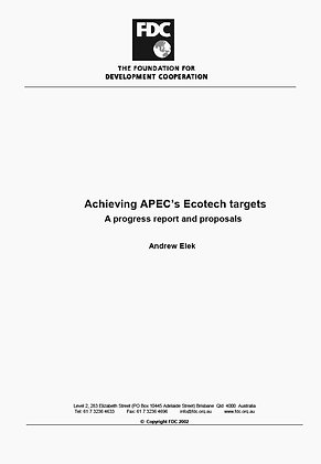 Achieving APECs Ecotech Targets, 2004