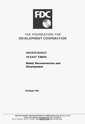 Microfinance in East Timor, Relief Reconstruction and Development, 1999