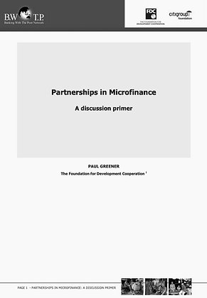 Partnerships in microfinance