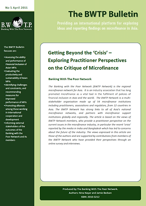 Exploring Practitioner Perspectives on the Critique of Microfinance, 2011