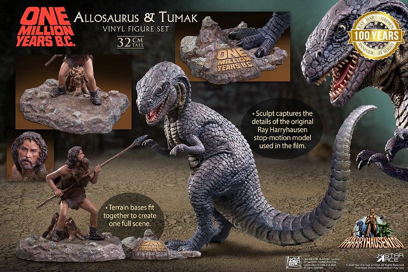 One Million Years B.C. Allosaurus & Tumak Soft Vinyl Figure Set