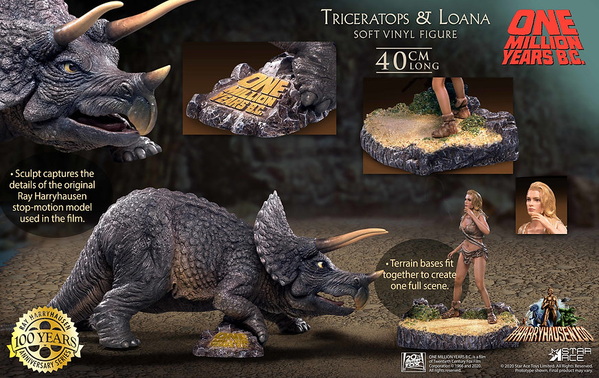 One Million Years B.C. Triceratops & Loana Soft Vinyl Figure Set