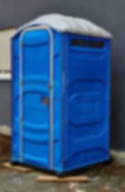 Portable toilet on the street in the cit