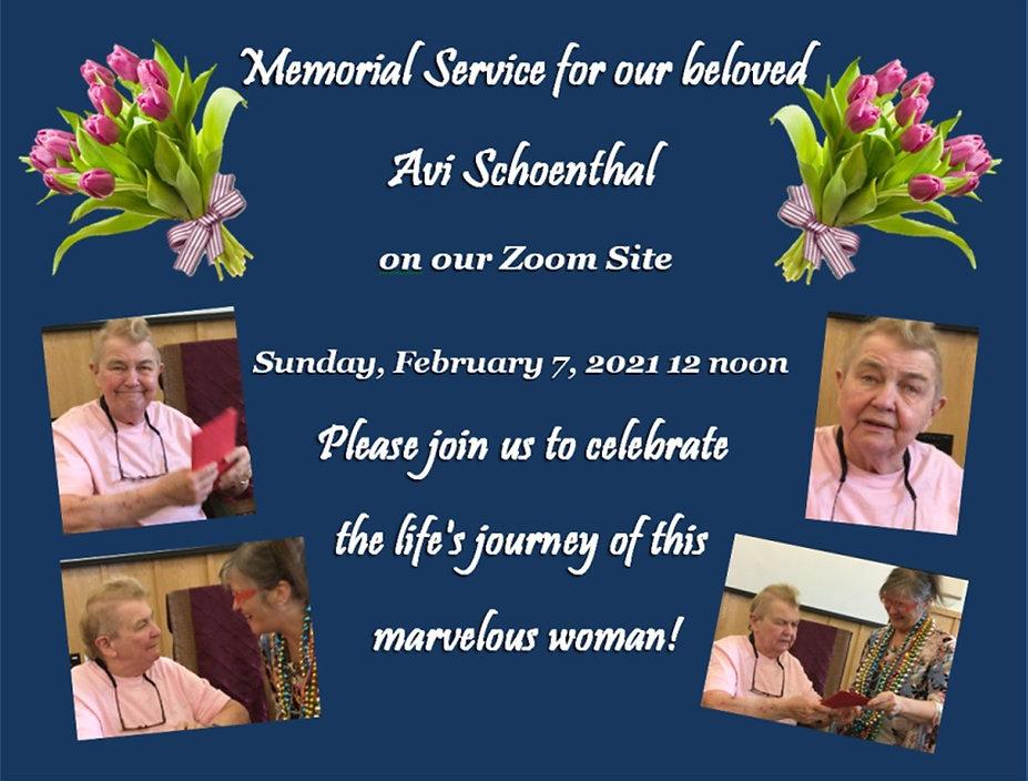 2021 02 07 Mermorial for Avi Schoenthal.