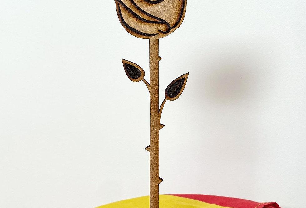Rosa de madera con base