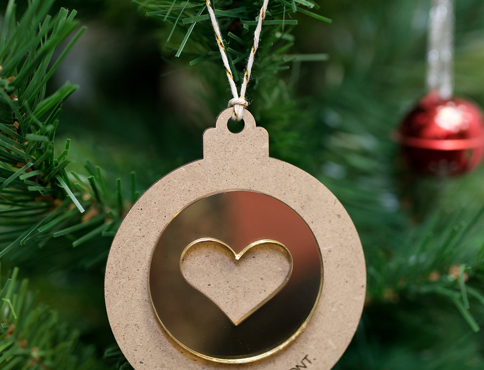 Bola de Navidad corazón/estrella brillante