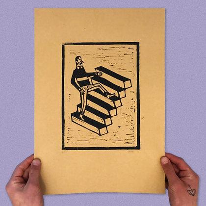 """METTE EHLERS . """"STAIRS"""" . 42X30 . LINOCUT PRINT"""
