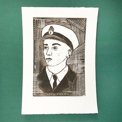 Mette Nissen Johansen . Captain . 42 x 30 . Woodcut