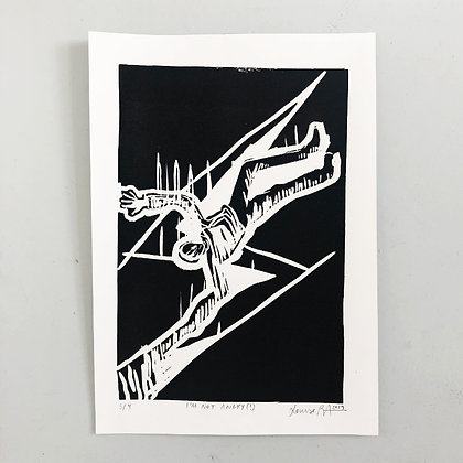 """LOUISE ABILDGAARD . """"I'M NOT ANGRY"""" . 29X21,5 . LINOCUT PRINT"""