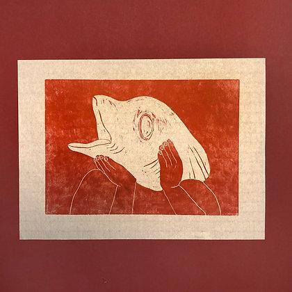 "astrid kongsted . ""fiskehoved"" . 30 x 42 . Woodcut"