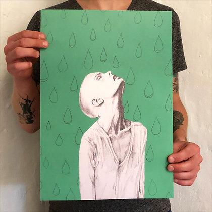 """CECILIE LUND-RASMUSSEN . """"RAIN"""" . 30x42 . PRINT"""