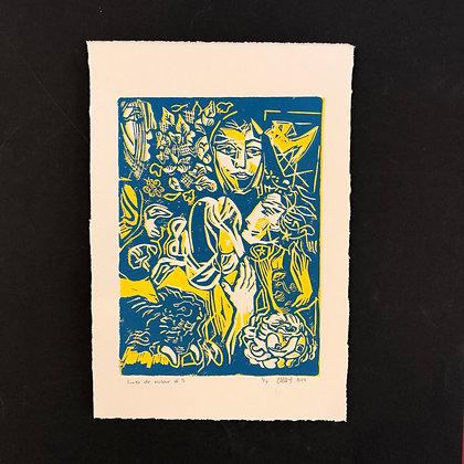 henry the rabbit . picasso I . 42x30 . linoprint