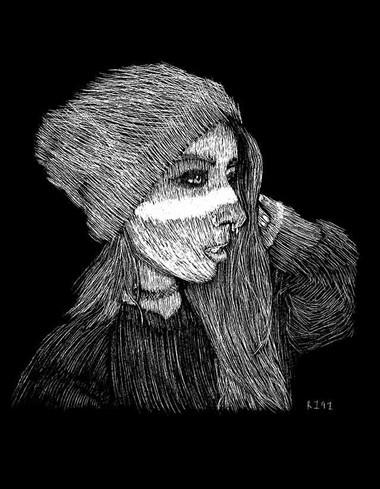 Skyhookart aka Skyhook Suicide Scratchboard Portrait
