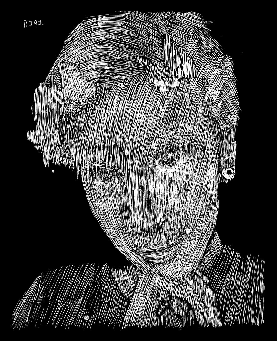 Jaeden Scratchboard Portrait
