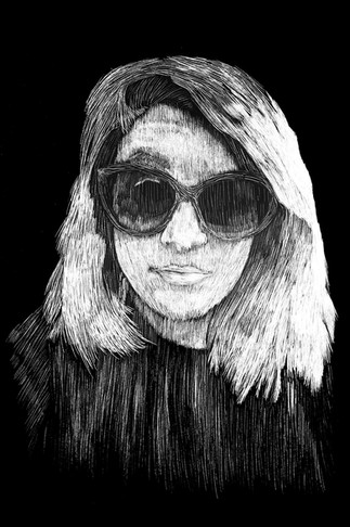 Angela Scratchboard Portrait