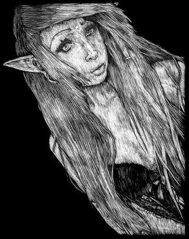 Monsoon Suicide Girl Hopeful Scratchboard Portrait