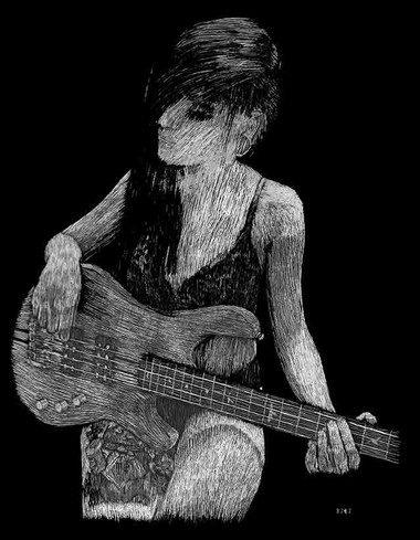 Obsidian Suicide with Bass Scratchboard Portrait